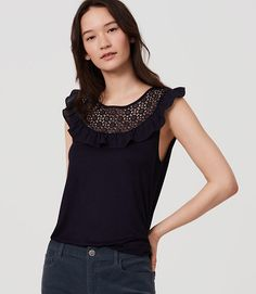 Image of Petite Lace Yoke Flutter Shell