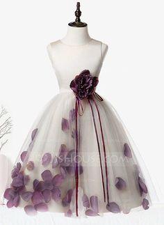 A-Line/Princess Scoop Neck Knee-length Flower(s) Organza Satin Tulle Sleeveless Flower Girl Dress Flower Girl Dress
