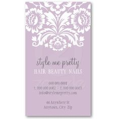 BUSINESS CARD stylish elegant damask pastel purple  A totally pretty card design for an event or wedding planning business.  More color schemes available in store...