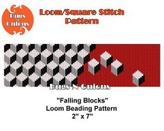 Falling Blocks. An asymetrical beading pattern for loom or square stitch. Stitch Type: Loom or Square Stitch Bead Type: Miyuki Delica Bead Size: 11/0 Colours: 5 Bead Count: 3672 Finished Size: 2 inches by 7 inches PDF file includes: Bead Graph Word Chart Bead Legend Additional
