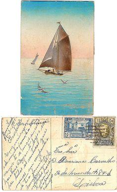 Vintage postcard from Lisbon, 1925