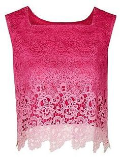 Womens raspberry dip-dye crop lace top by jovonna from Topshop - £50 at ClothingByColour.com Rosa Pink, Lace Crop Tops, Winter Colors, Dip Dye, Raspberry, Topshop, Palette, Colour, Clothes