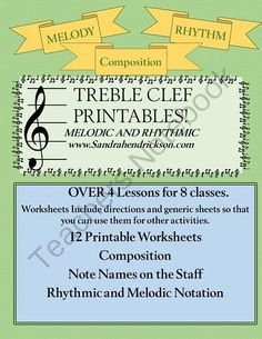 Music Printables from Sandra H Music on TeachersNotebook.com -  (12 pages)  - Music Printables that help teach Rhythm, Melody and Composition. OVER 4 Lesson Directions for 8 classes or meetings. Great for Piano and other Music Teachers