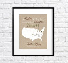 Gift for Dad  8x10 Custom Map Print Fathers Day by WanderingFables, $24.99