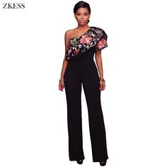 589d2135d057 ZKESS Women One Shoulder Floral Embroidered Ruffles Jumpsuit Fashion Sexy  Slim Fit Wide Leg Club Party