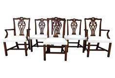 Chippendale-Style  Dining Chairs, S/6