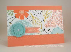 """A sweet little hello note card to send to a friend """"just because"""". Stampin' Up! Sweet Sorbet paper and Scallop Circle Punch Flower"""