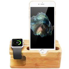 Apple Watch Stand, 10,99 Euro auf Amazon.de Aerb Bamboo Docking Station Ladestation Halterung für Apple Watch 38/42mm und iPhone 5 / 5S / 5C / 6 /6 PLUS / 6S / 6S Plus