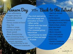 If You Give a (Fan) a (Ticket)...: Hanson Day vs. Back to the Island #Hanson #BTTI