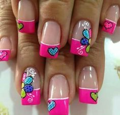 Best & Cute Valentine's Day Nail Art Designs - Reny styles French Nails, Pretty Nails, Fun Nails, Valentine Nail Art, Manicure E Pedicure, New Nail Art, Super Nails, Nagel Gel, Flower Nails