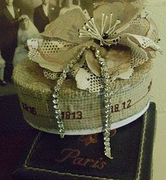 little hatbox with embroidery dates by justlilla