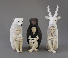 Crystal Morey sculptures.  They remind me of Where The Wild Things Are.....