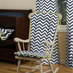 Navy and Citron Zig Zag Rocking Chair Pad