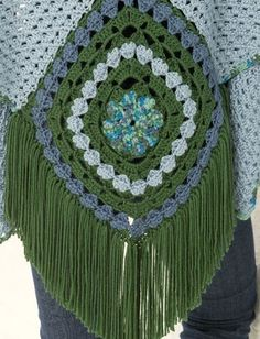 ergahandmade: Crochet Center Square Shawl + Diagrams + Free Pattern