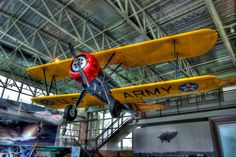 "1939 Boeing ""Stearman"" at College Park Aviation Museum, College Park, MD. In April 2000, Gus McLoed flew this aircraft over the North Pole, the first open cockpit Aircraft to achieve this feat."