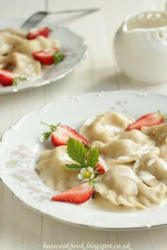Polish PIEROGI - dumplings with strawberry filling and cream Bea's cookbook: FROM POLAND WITH LOVE