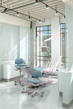 Dental Office Design | A-dec 500 dental chair with Cyan sewn upholstery, A-dec 500 Continental delivery system, A-dec 500 LED dental light