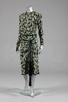 Jeanne Lanvin couture printed silk summer dress, Summer, 1936, Kerry Taylor Auctions