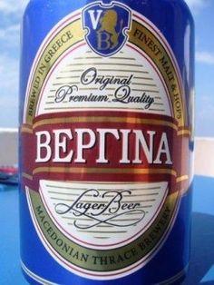 Cerveja Vergina, estilo Standard American Lager, produzida por Macedonian Thrace Brewery, Grécia. 5% ABV de álcool.