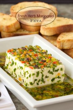 Fresh Herb-Marinated Feta - You won't believe how quickly you can create this lovely, flavorful Mediterranean-inspired appetizer. I'd also top a block of feta with olive tapanade Make Ahead Appetizers, Appetizer Dips, Appetizer Recipes, Holiday Appetizers, Feta, Cheese Recipes, Cooking Recipes, Fun Recipes, Aperitivos Finger Food