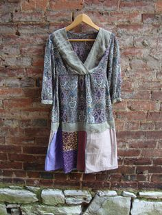 Boho Chic Eco Dress in Teal and Plum/Womens by RebirthRecycling, $60.00 (sold)