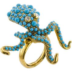 KJL by KENNETH JAY LANE Simulated Turquoise Octopus Ring (4.750 RUB) ❤ liked on Polyvore featuring jewelry, rings, green turquoise ring, band jewelry, turquoise band ring, band rings and adjustable rings