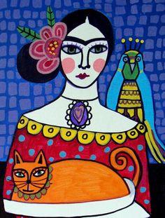 Frida Kahlo Mexican Folk Art Orange Cat Parrots Print Poster Painting Gift Decor | eBay
