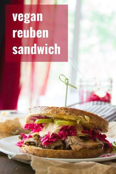 Made with layers of seitan, sauerkraut and creamy dressing, these vegan Reuben sandwiches are packed with flavor and grilled to crispy delicious perfection. Vegan Lunch Recipes, Vegan Lunches, Delicious Vegan Recipes, Vegan Foods, Vegan Dinners, Vegan Keto, Vegan Snacks, Vegetarian Meals, Vegan Life