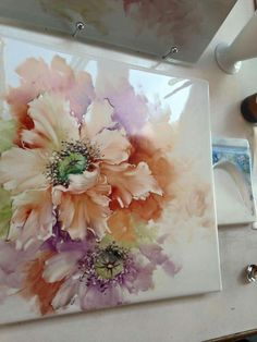 Beautiful peach pink flowers painted on tile. Lamia Tham