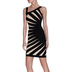 Herve Leger Black Aimee Contrast Bandage Dress
