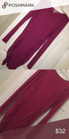 Long sleeve rouged knee length dress purple Fuchsia purple stretchy slimming design can fit 10/12 nicely NWOT Mango Dresses