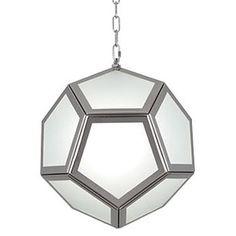 Available in  Polished Nickel or Matte Brass     Bulb Type: A  Direct Wire  Frosted Glass Shade Panels  Susp Hardware: 6 Ft. of Chain
