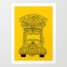 (yellow) Art Print by Apaali. - X-Small Truck Art Pakistan, Yellow Art, Hand Illustration, Buy Frames, Art Direction, Art Sketches, Wall Murals, Brown Pride, Gallery Wall