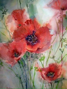 watercolor poppies painting with a touch of Pastels, by Jan Schafir - ArtistDaily Watercolor Poppies, Easy Watercolor, Poppies Painting, Flower Paintings, Red Poppies, Painting With Watercolors, Poppies Art, Flower Artwork, Watercolour Paintings