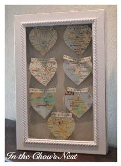 shadowbox map favorite places - DIY valentine's day gift