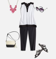Shop black and white summer outfit trends like our plus size Contrast Colorblock outfit featuring Colorblock Sharkbite Tank and Dotted Super Stretch Capri with Tummy Control available in sizes 14-32 online at avenue.com. Avenue Store