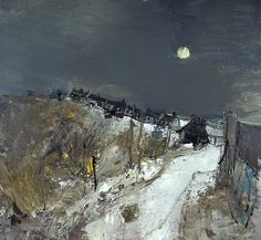 Joan Eardley, Catterline in Winter, Oil on hardboard, x cm (framed dimensions: x x cm). Purchased Scottish National Gallery of Modern Art © Estate of Joan Eardley. All Rights Reserved, DACS 2015 Abstract Landscape Painting, Landscape Art, Landscape Paintings, Abstract Art, Gallery Of Modern Art, Winter Art, Nocturne, Winter Landscape, Your Paintings