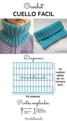 Cuello tejido con un rectángulo a crochet. Paso a paso con diagrama y video tutorial para tejerlo. Diy Crochet, Crochet Baby, Crochet Neck Warmer, Hippie Style, Crochet Patterns, Knitting, Handmade, Lana, Hairpin Lace