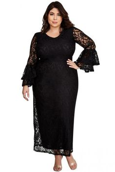 Chic Bell Sleeve Plus Size Black Lace Maxi Dress Cheap Maxi Dresses, Beautiful Maxi Dresses, Stylish Dresses, Peplum Dresses, Casual Dresses, Evening Dresses Plus Size, Plus Size Maxi Dresses, Plus Size Kleidung, Look Plus Size