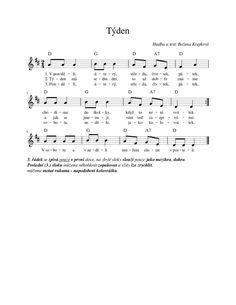 Týden – Boženčiny písničky – MUZIKA VE ŠKOLE Kids Songs, Music Lessons, Sheet Music, Kindergarten, Crafts For Kids, Poems, Teaching, How To Plan, Education