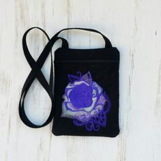 Gothic Rose Embroidered Crossbody Bag Black by OleanderMoon