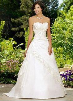 Ball-Gown Strapless Sweetheart Court Train Taffeta Wedding Dress With Ruffle Beading
