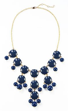 521d43cb956 Navy Blue Bubble Necklace - gold tone statement bib necklace by Shamelessly  Sparkly Cool Necklaces,