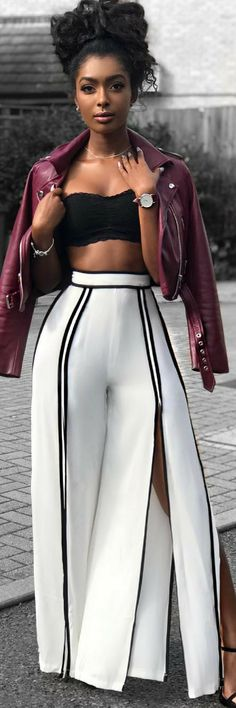 Shop The Look: Catalina Wide Slit Pants by Fashion Nova , Moto Jacket by bershkacollection , Watch by paul_hewitt Fall Outfit Styled By Jourdan Riane Mode Outfits, Chic Outfits, Fashion Outfits, Fashion Mode, Womens Fashion, Fashion Trends, Knit Fashion, Fashion 2018, Fashion Fashion
