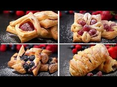 Four Incredibly Beautiful Desserts With Puff Pastry. These delicious recipes are ultimate Pastry chef goals. Strawberry Puff Pastry, Easy Desserts, Dessert Recipes, Mini Desserts, Appetizer Recipes, Breakfast Recipes, Puff Pastry Desserts, Puff Pastries, Sweet Puff Pastry Recipes
