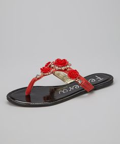 Take a look at this Red Rosette Sandal by Henry Ferrera on #zulily today!