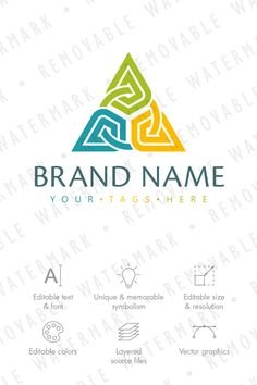 Logo template with idea of abstract triangle formed out of three elements chained together with circle. Additionally, overall shape resembles stylized letter Logo Design Template, Logo Templates, Triangle Logo, Triangle Template, Three Logo, Remo, Poster Design Inspiration, Social Media Logos, House In The Woods