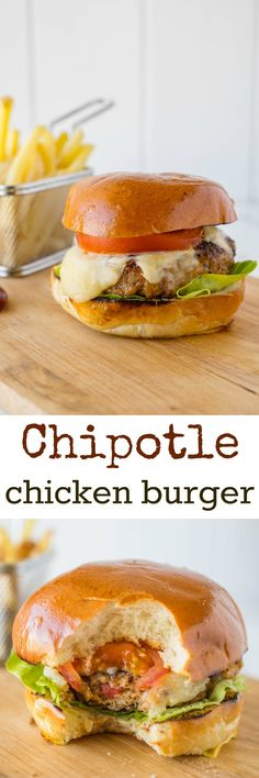 Chipotle chicken burger. A juicy and very flavorful burger that will satisfy any burger craving with onions, red pepper, cilantro and chipotles in adobo.