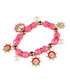 Nautical Charm Stretch Bracelet-Pink - Savvyconch