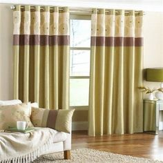 Brown green and cream curtains